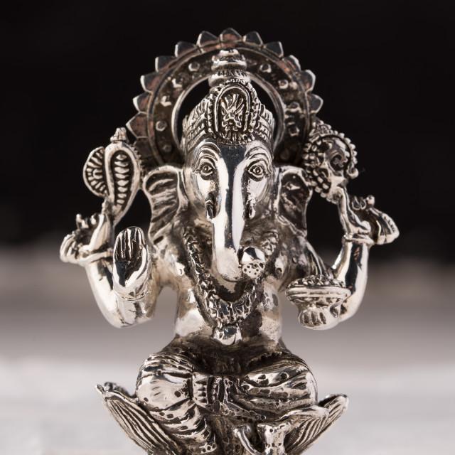 """""""Silver votive figure of elephant God Ganesha from the Indian Hindu Pantheon."""" stock image"""