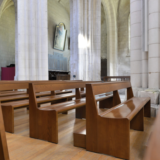 """""""wooden benches in a cathedral"""" stock image"""