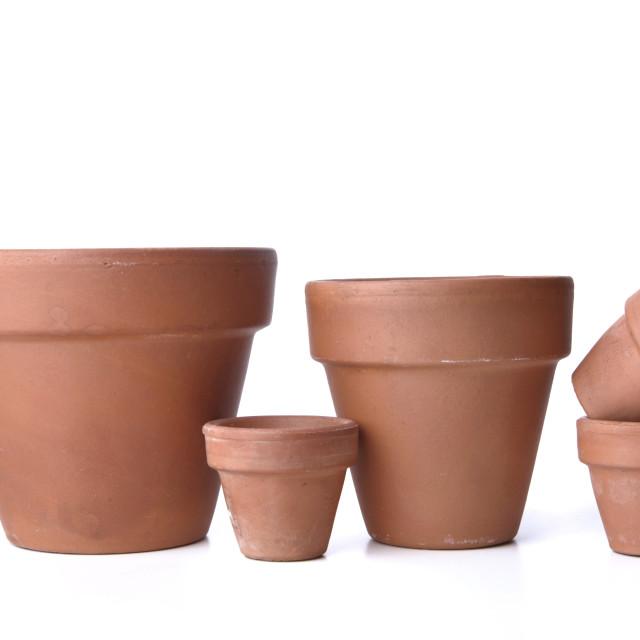 """terra cotta flowerpots"" stock image"