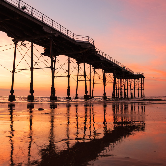 """Pier Reflection."" stock image"