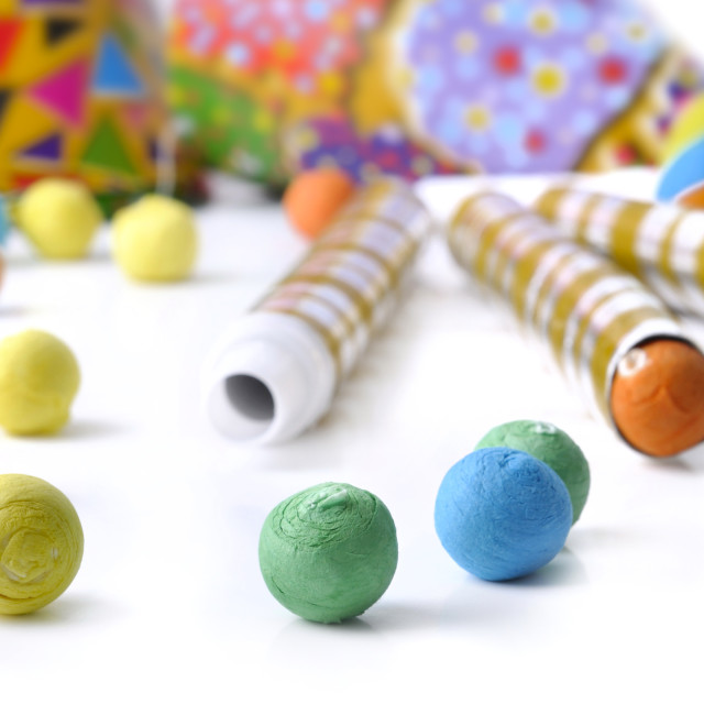 """""""colorful paper balls and cotillons"""" stock image"""