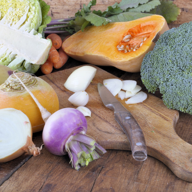 """""""vegetable on cooking plank"""" stock image"""