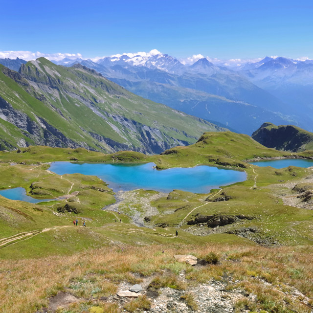 """""""view on lakes in mountain"""" stock image"""
