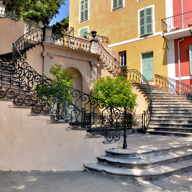 """""""staircase on a square of bastia in Corsica"""" stock image"""