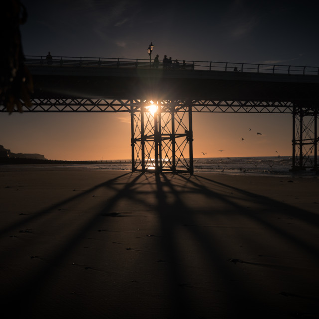 """sunset on the pier"" stock image"