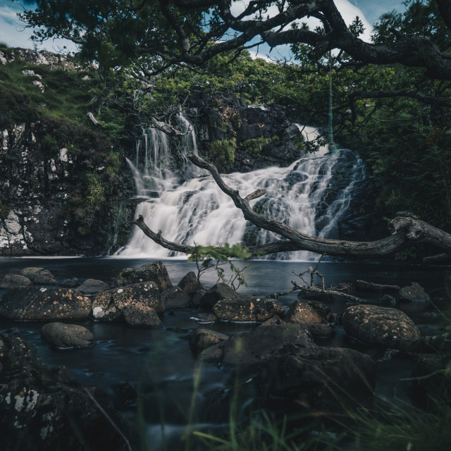 """The hidden waterfall in Mull"" stock image"