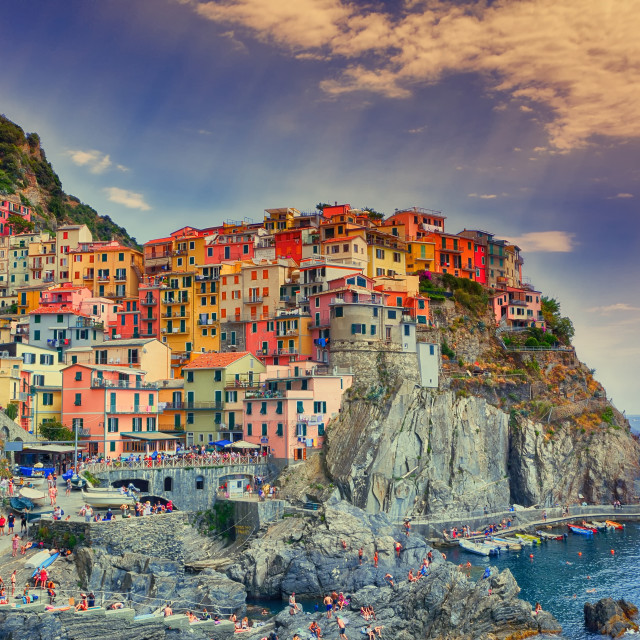 """Beautiful view of Manarola town, Cinque Terre, Liguria, Italy."" stock image"
