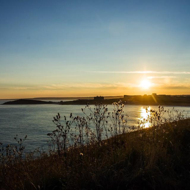 """Sunrise over Newquay"" stock image"
