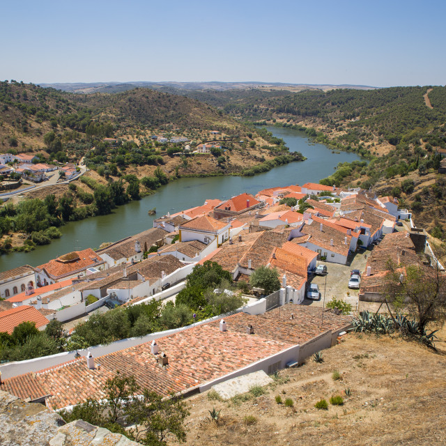 """""""The river Guadiana and the historic town of Mertola in Alentejo, Portugal"""" stock image"""