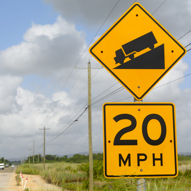 """roadsign in Belize"" stock image"