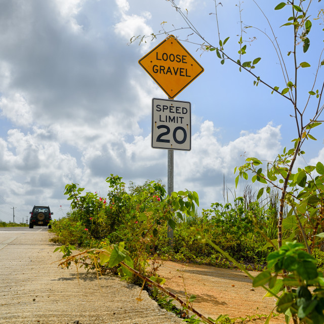"""Road signage on a road in Belize"" stock image"