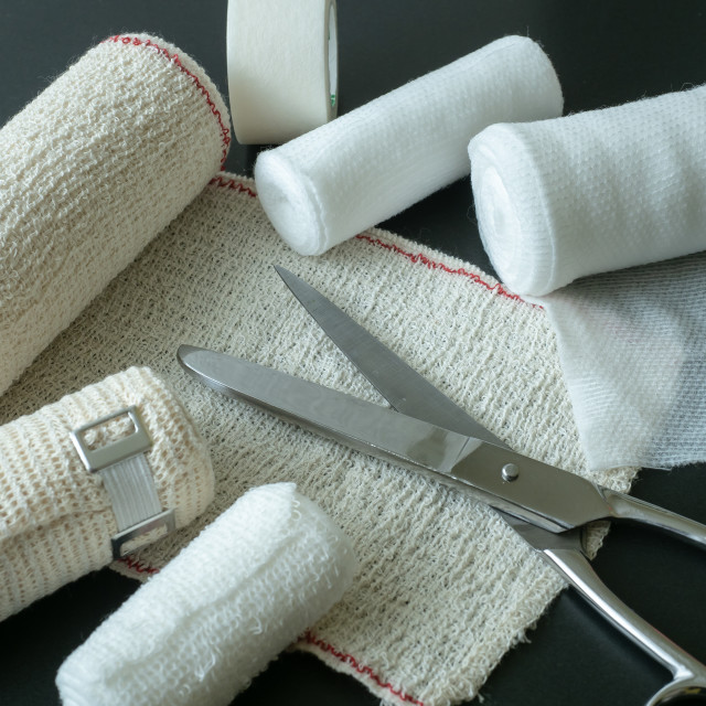 """""""Medical bandages with scissors. Medical equipment."""" stock image"""