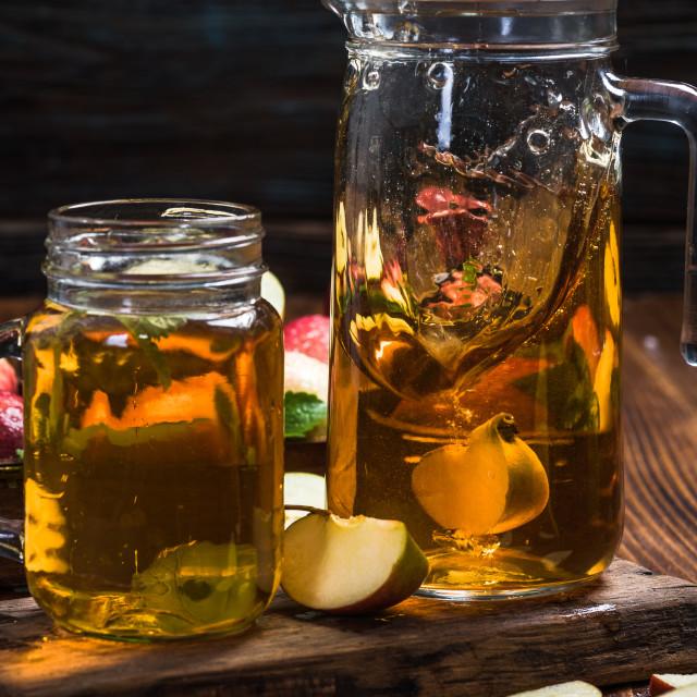 """Apple piece slash juice in jar"" stock image"
