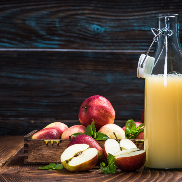 """Cloudy pressed apple juice"" stock image"