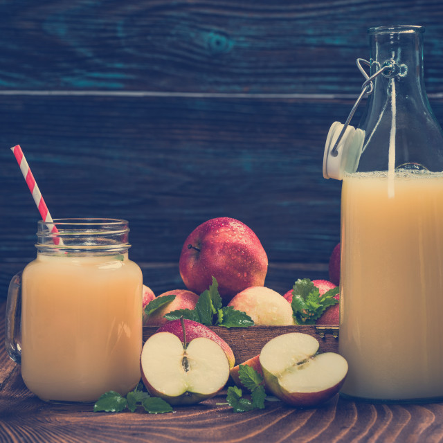 """Natural homemade apple juice, pressed and cloudy"" stock image"