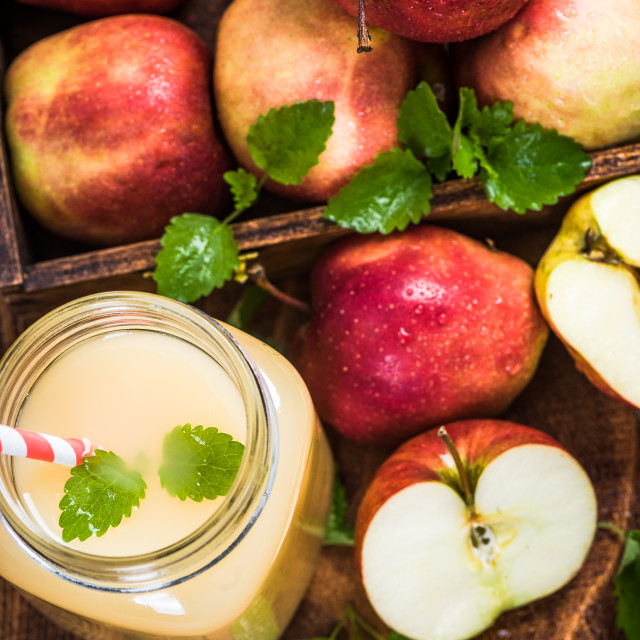 """Apple juice in jug with mint"" stock image"