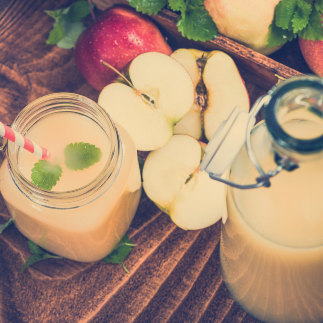 """Freshly pressed cloudy apple juice"" stock image"