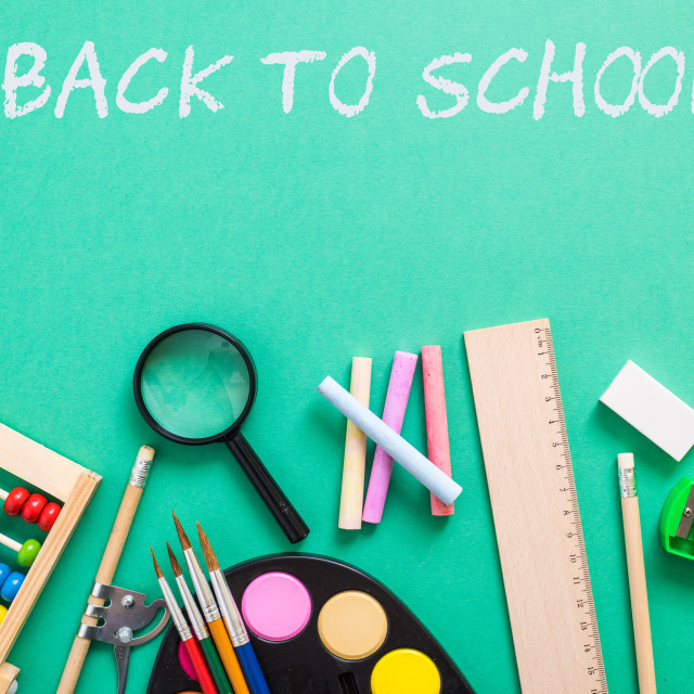 """school supplies on colorful background"" stock image"