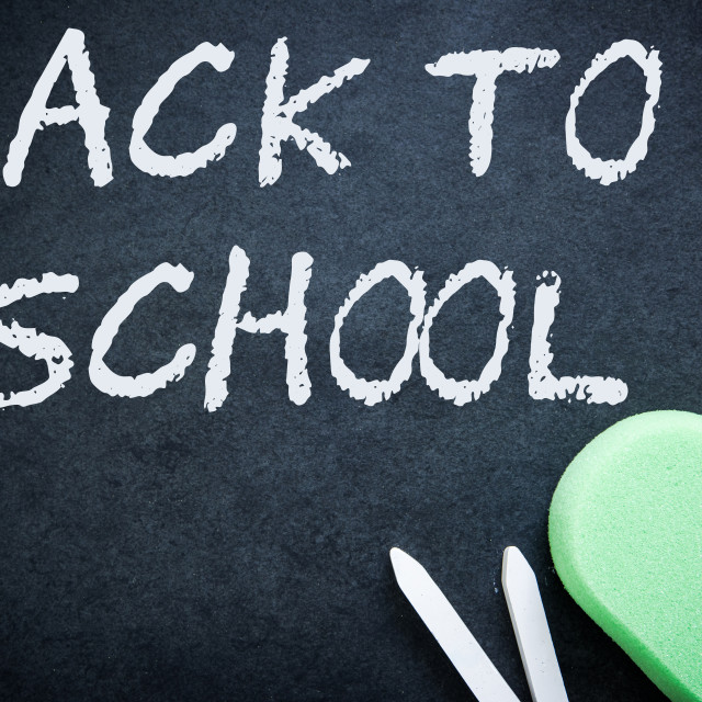 """Back to school on chalkboard with sponge chalk eraser"" stock image"