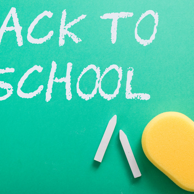 """green classroom chalkboard , back to school template"" stock image"