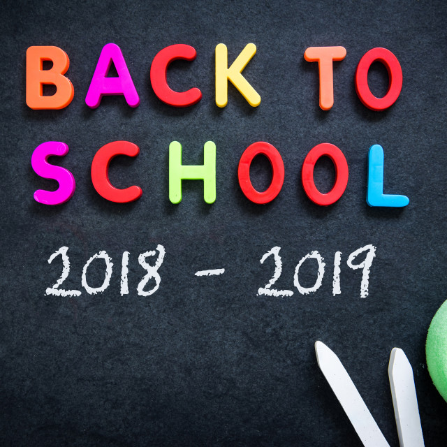 """Back to School letters on chalkboard"" stock image"