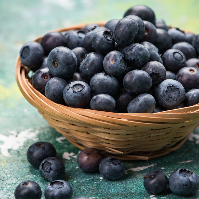 """Fresh ripe blueberry in basket"" stock image"