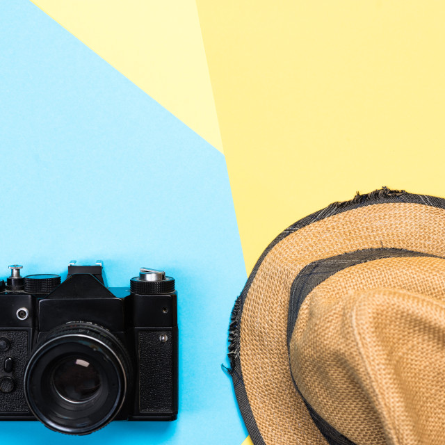 """Vintage items related to travel and vacations"" stock image"