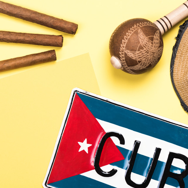 """Vacation in Cuba, conceptual flat lay background"" stock image"