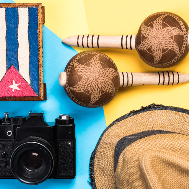 """Vintage items related to exotic vacations in Cuba"" stock image"