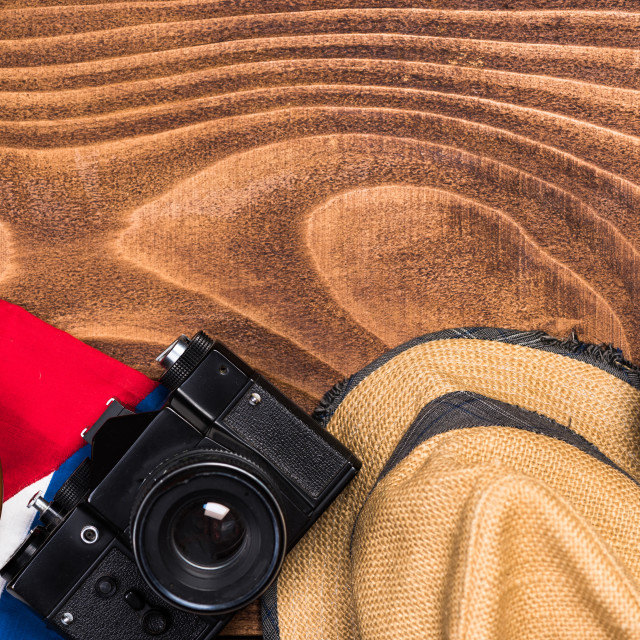 """Objects related to Cuba on wooden background"" stock image"