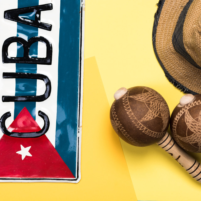 """Items related to Cuba and vacations"" stock image"