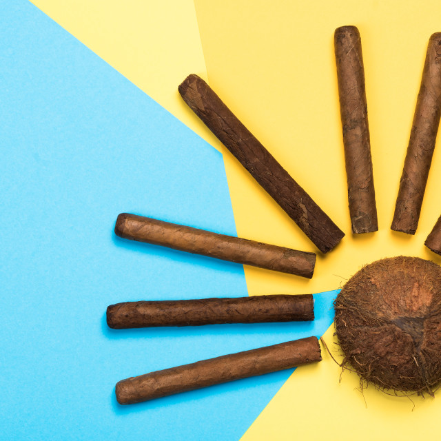"""""""Coconut and cuban cigars, exotic vacations concept design"""" stock image"""