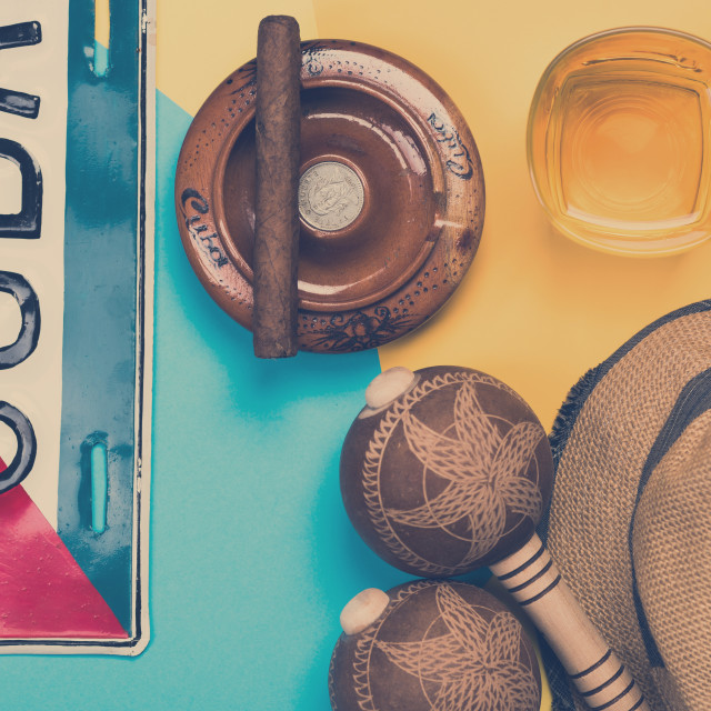 """""""Exotic vacations in Cuba, conceptual items design"""" stock image"""