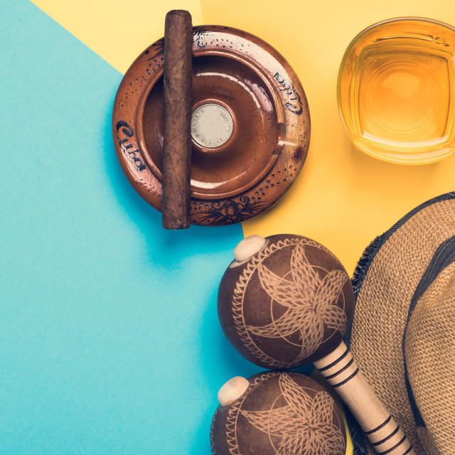 """""""Items related to Cuba and exotic vacations"""" stock image"""