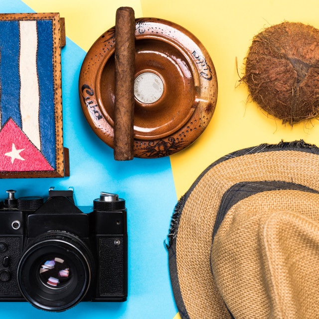 """Items related to Cuba and exotic vacations"" stock image"