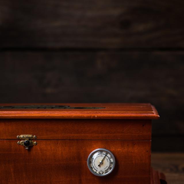 """Cedar wood humidor for cigar storage"" stock image"