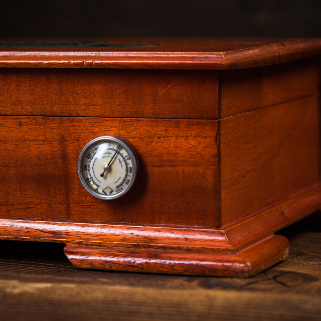 """""""Wooden humidor for storage cigars"""" stock image"""