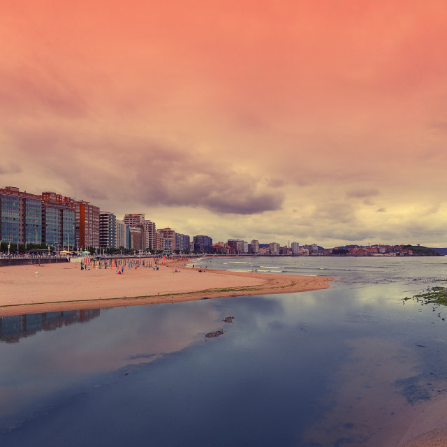 """San Lorenzo beach, Gijon, Spain."" stock image"