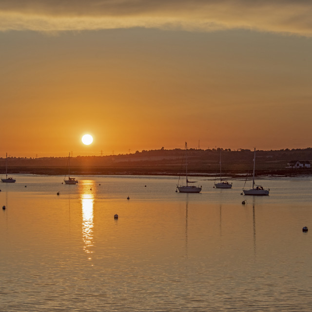 """Sunset Boats South Fambridge (I)"" stock image"