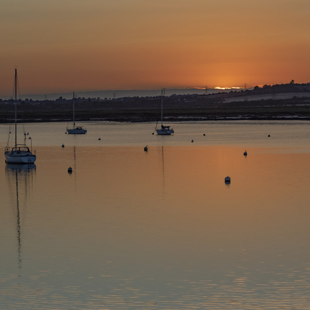 """Sunset at South Fambridge"" stock image"
