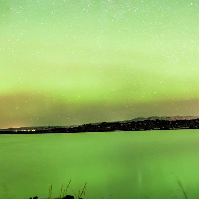 """Aurora Borealis - northern lights - Myvatn lake - iceland"" stock image"