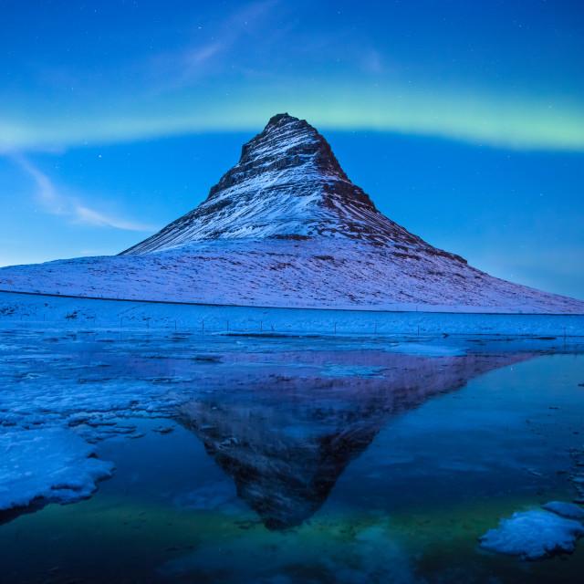 """Aurora Borealis at Blue hour - Kirkjufell - Iceland - northern lights"" stock image"