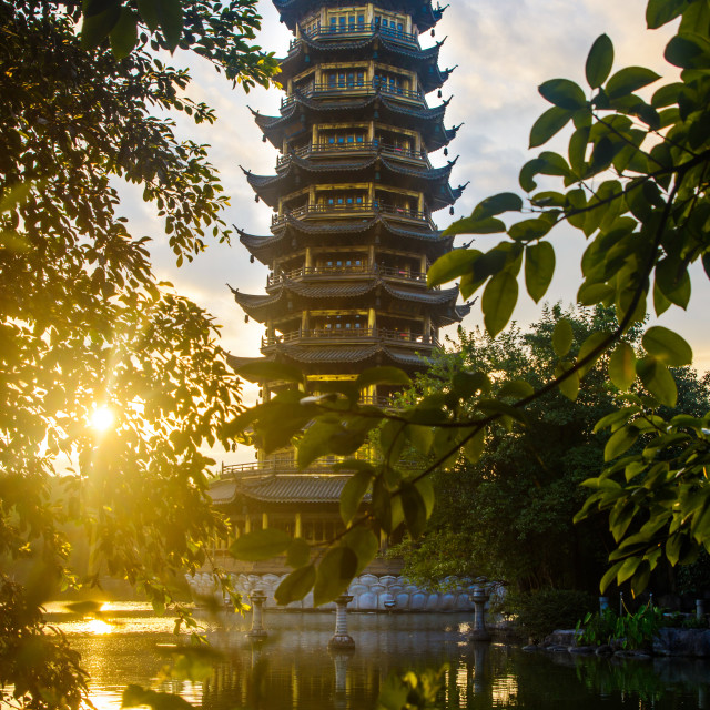 """Sunrise scene over the pagoda in Guilin, China"" stock image"