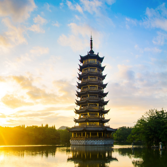 """Sunrise over the pagodas in Guilin, China"" stock image"