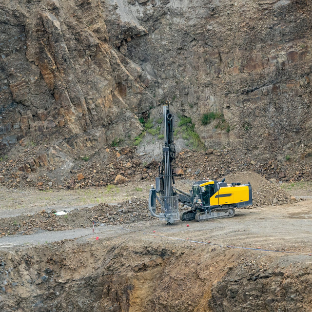 """Opencast mining quarry with mining drilling machine. Mining in t"" stock image"
