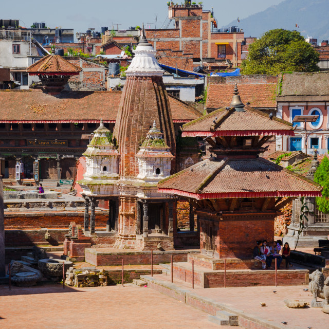 """""""Patan Durbar Square in Kathmandu, Nepal, with the Royal Palace and buddhist..."""" stock image"""