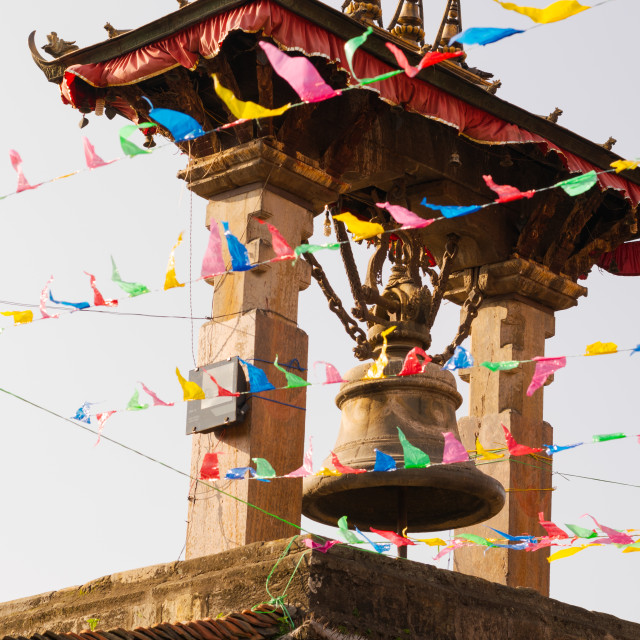 """""""Prayer flags and decorations are held over Patan Durbar Square in Kathmandu,..."""" stock image"""
