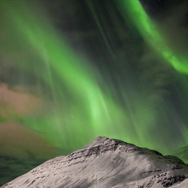 """Aurora Borealis- Northern lights - Seydisfjordur - Iceland"" stock image"