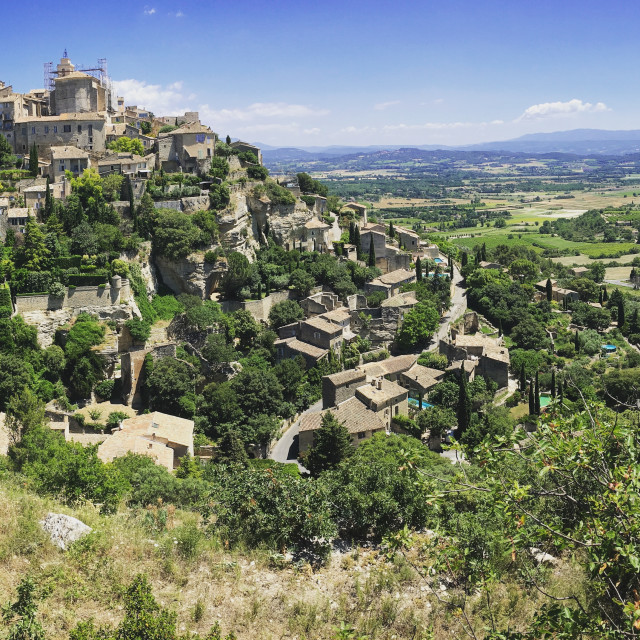 """Mid afternoon view of Gordes"" stock image"