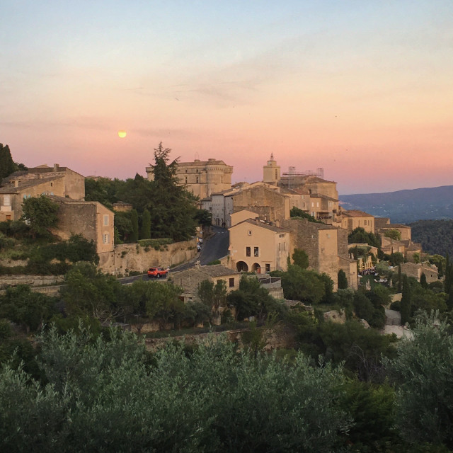 """Dusk over Gordes"" stock image"